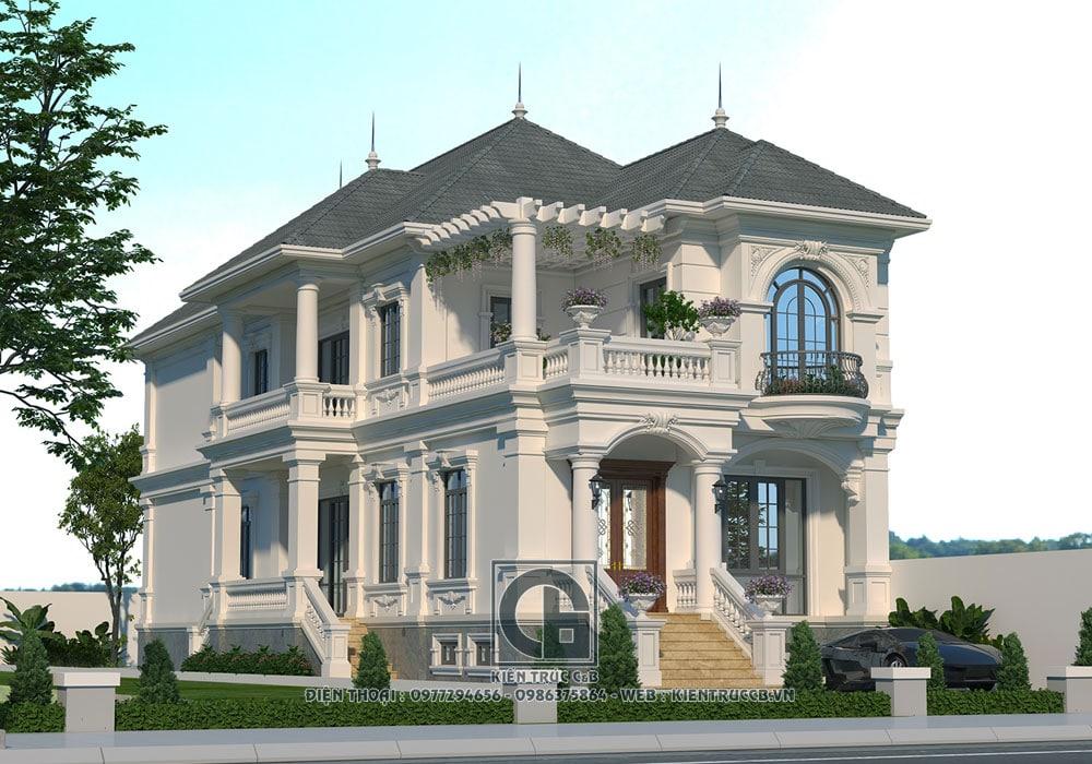 Ấn tượng thiết kế mẫu biệt thự 2 tầng mang phong cách Pháp