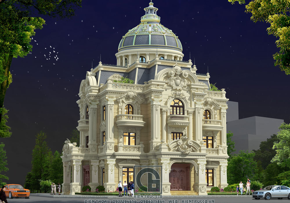 Thiết kế biệt thự lâu đài nguy nga với phong cách tân cổ điển mới nhất