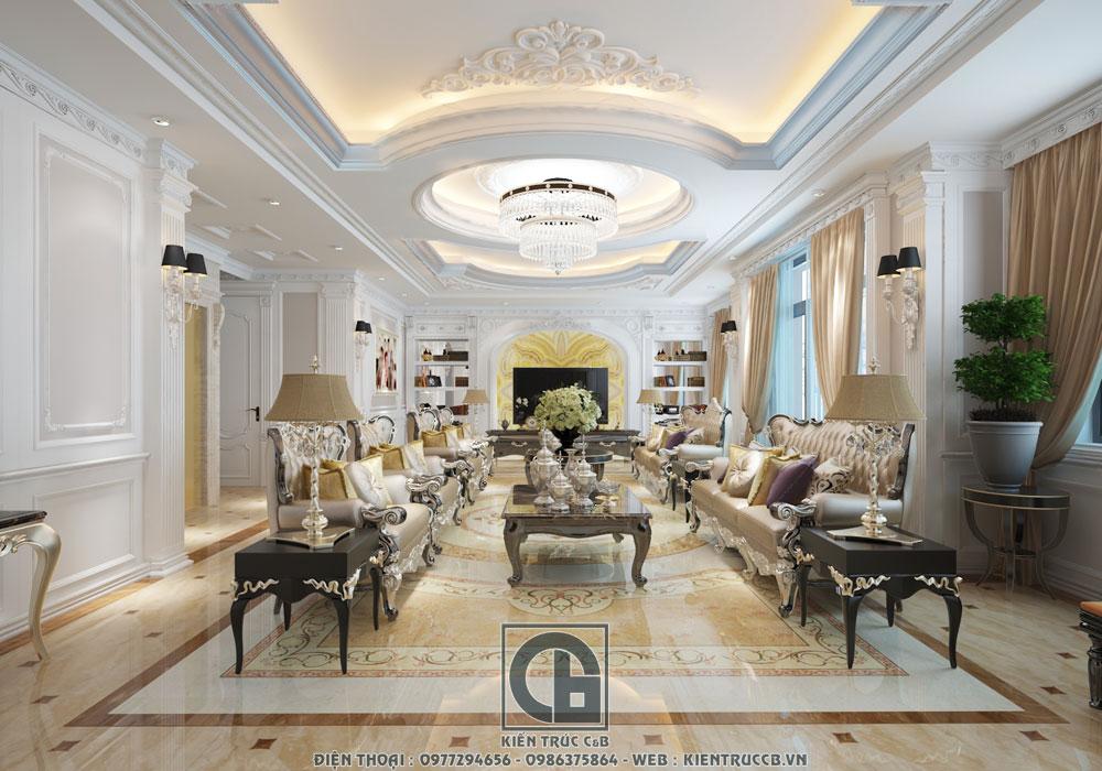 mẫu nội thất tân cổ điển Châu Âu cho phòng khách