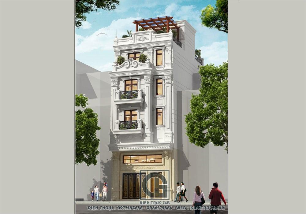 Mẫu thiết kế nhà phố 5 tầng tân cổ- Sự sang trọng đi cùng năm tháng
