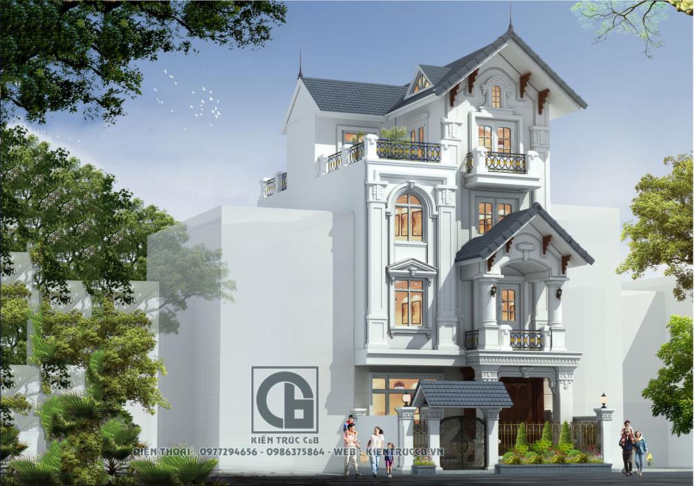 Thu hút mẫu thiết kế nhà phố 4 tầng tân cổ điển đẹp mắt