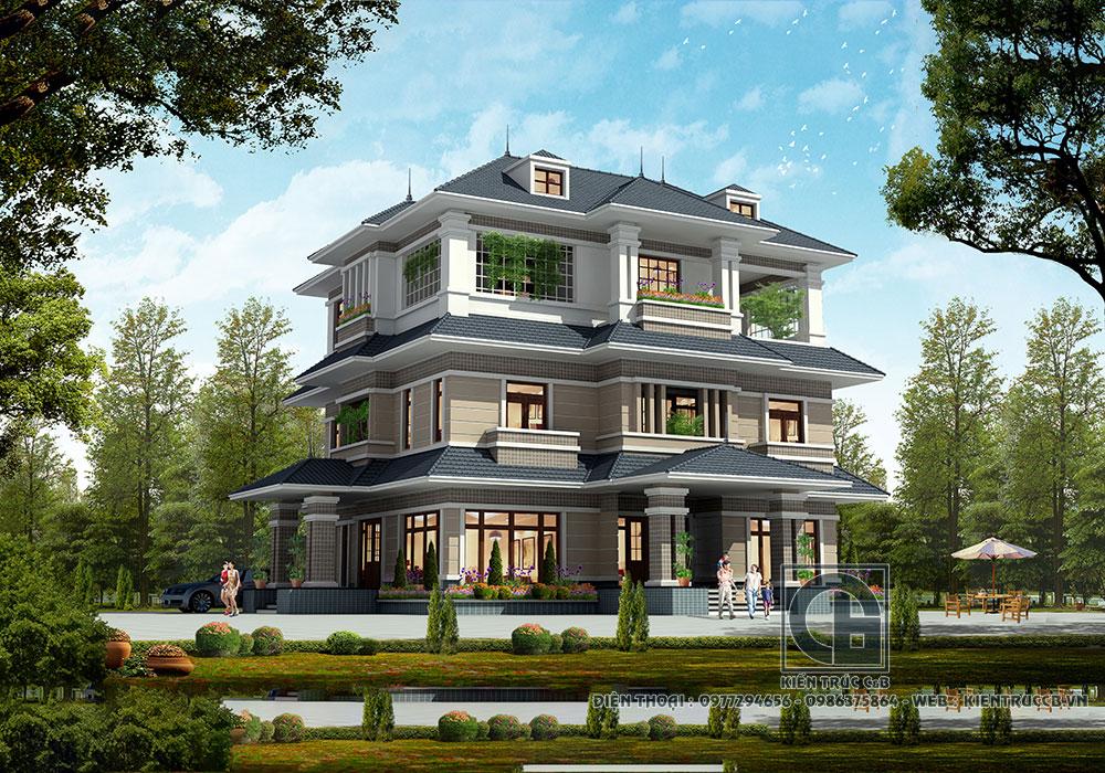 Thiết kế biệt thự hiện đại 3 tầng mái Thái trẻ trung, năng động
