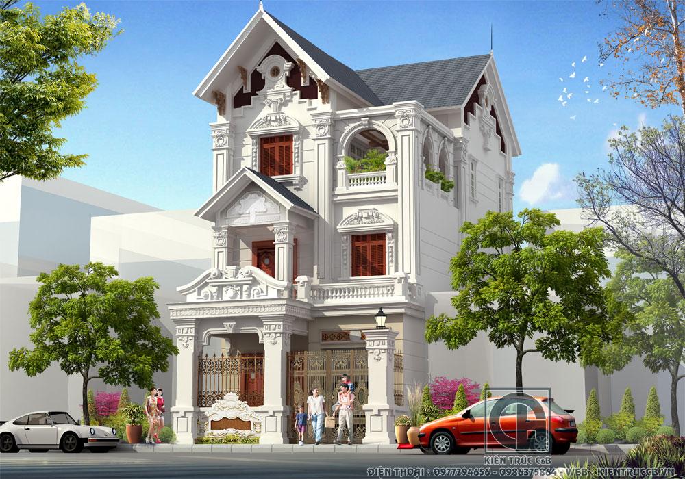 Ngất ngây mẫu biệt thự tân cổ 3 tầng mái Thái