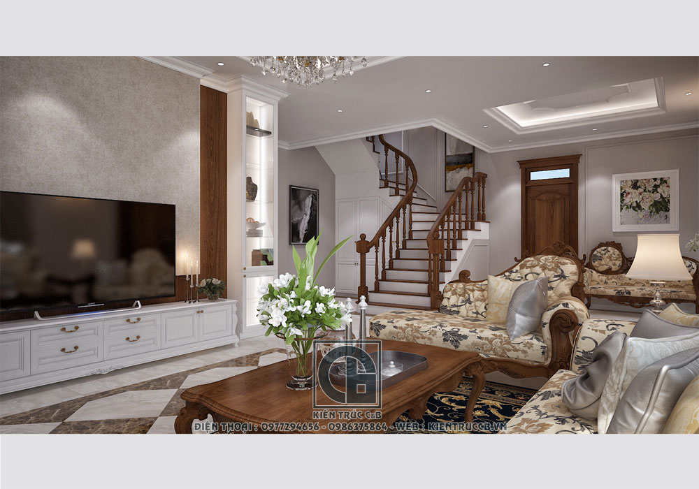 Thiết kế nội thất tân cổ điển cho Phòng khách thêm lung linh