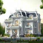 Biệt thự tân cổ điển đẹp lung linh thiết kế mái hộp 4 tầng