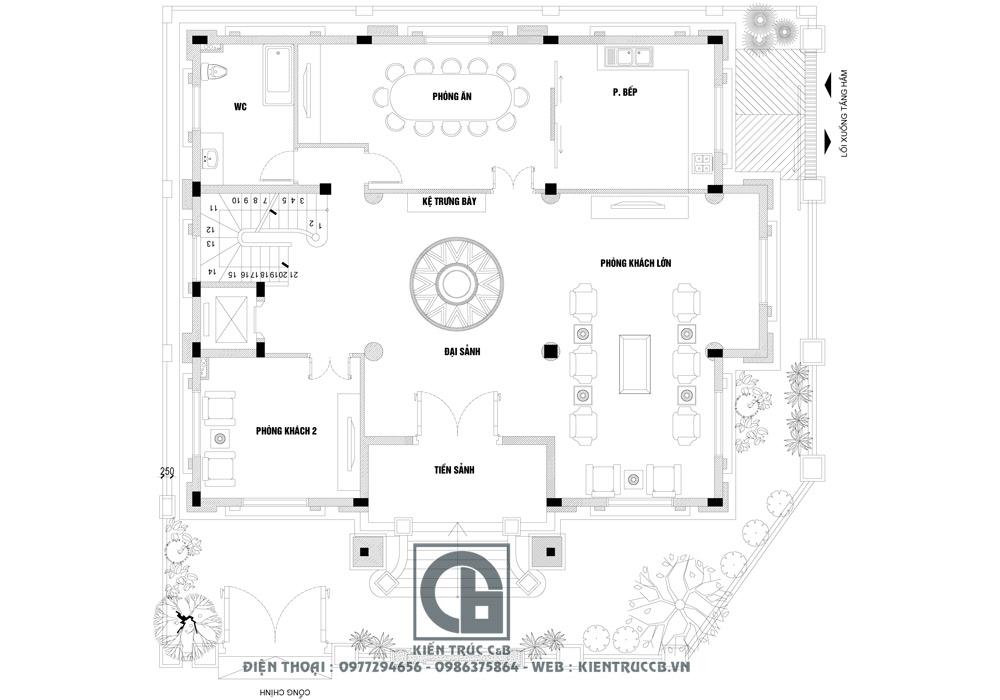 Biệt thự tân cổ điển đẹp lung linh thiết kế mái hộp 4 tầng 3