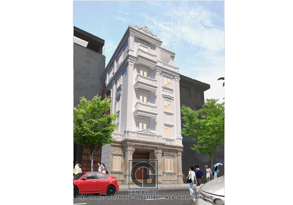 Mẫu Thiết kế nhà phố phong cách tân cổ điển 5 tầng