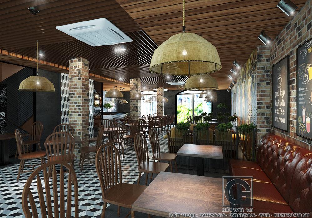 Mẫu thiết kế nội thất nhà hàng, quán cà phê hiện đại