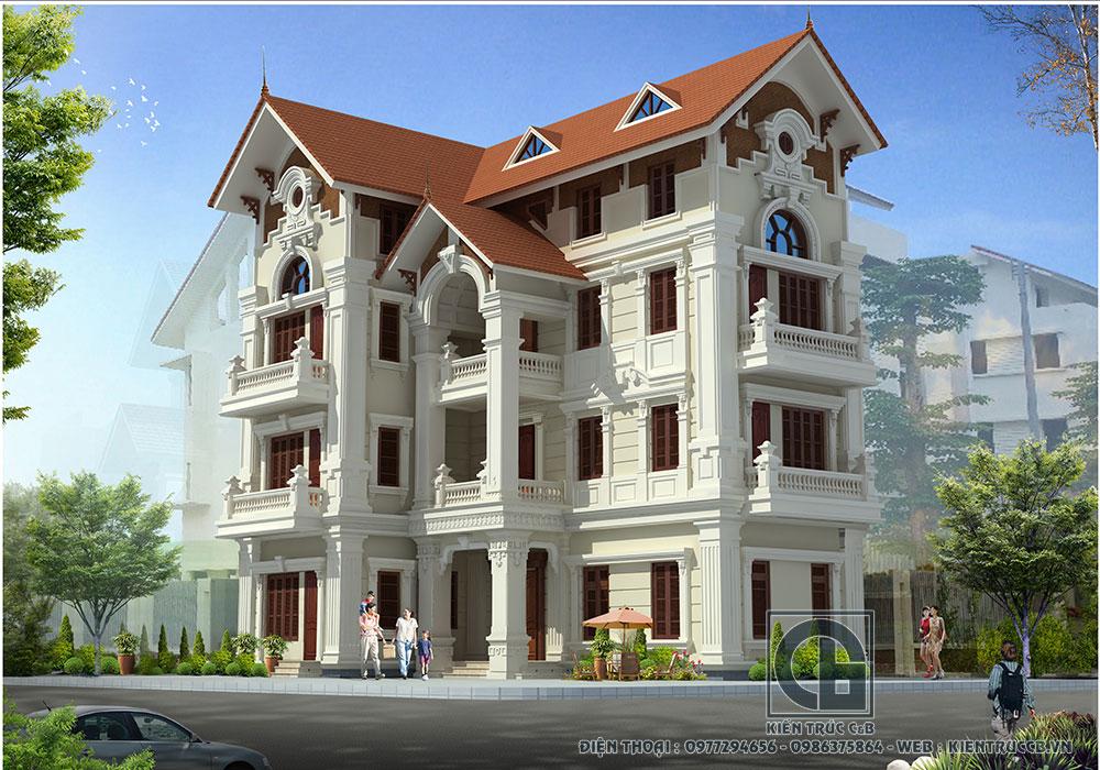 Vẻ đẹp hiện đại mà cổ kính của mẫu biệt thự tân cổ 4 tầng mái Thái