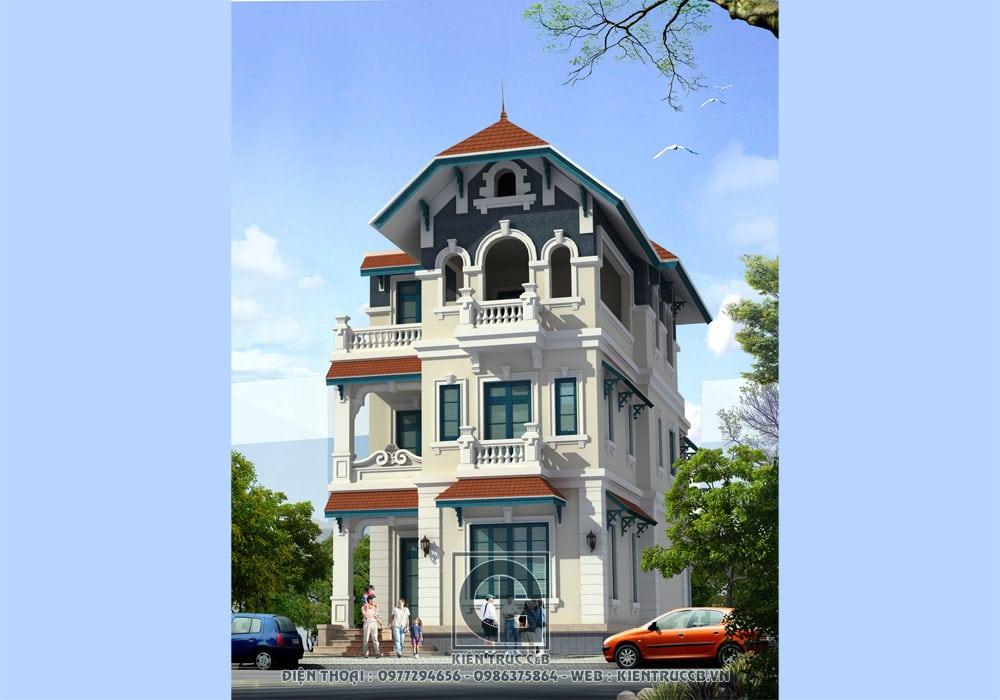 Mẫu biệt thự 3 tầng kết hợp hài hòa giữa cổ điển và hiện đại