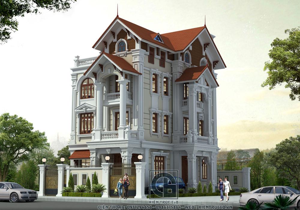Sự sang trọng và đẳng cấp trong mẫu biệt thự 4 tầng mái Thái phong cách tân cổ