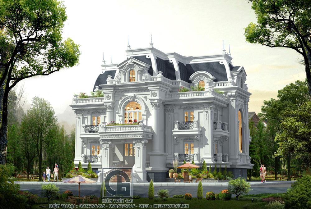 thiết kế biệt thự tân cổ điển mái hộp