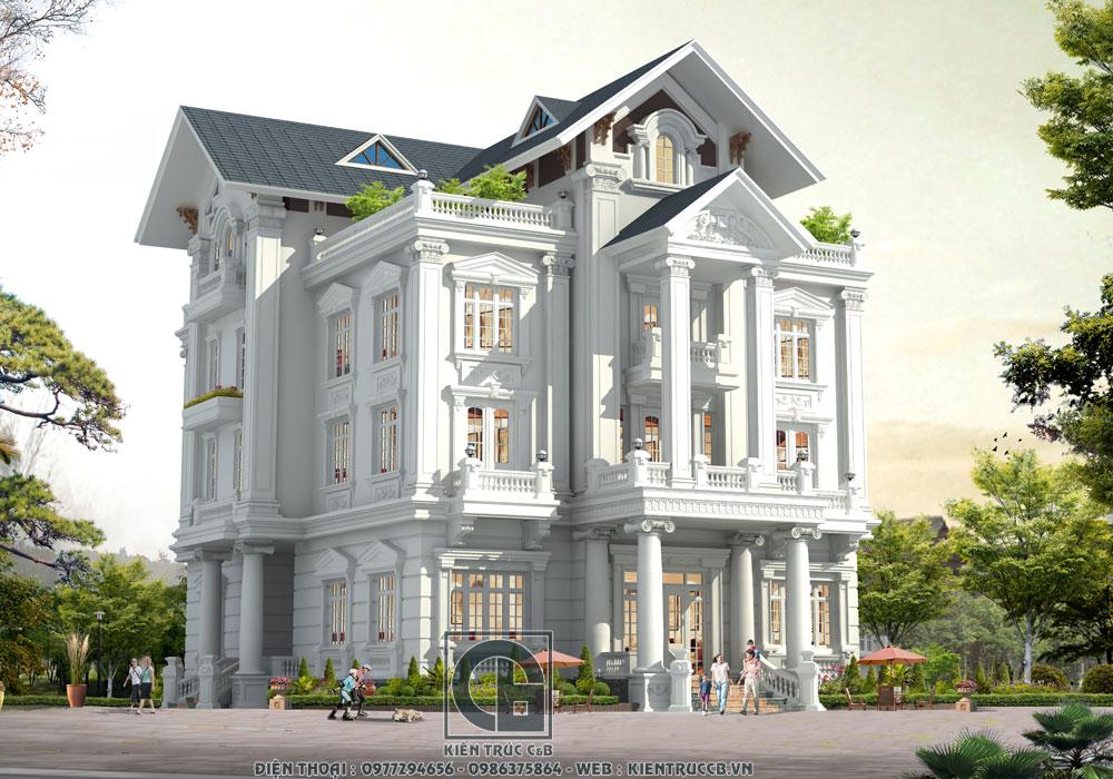 Tinh hoa kiến trúc tân cổ trong mẫu biệt thự 4 tầng mái Thái