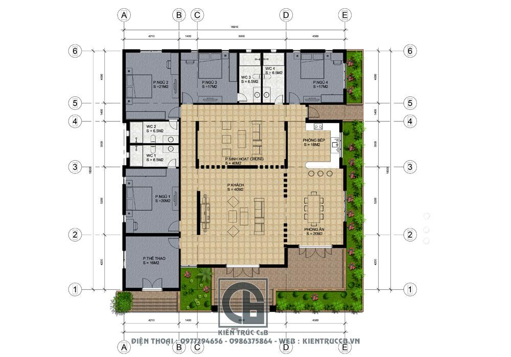 Mẫu thiết kế nhà vườn đẹp 1 tầng
