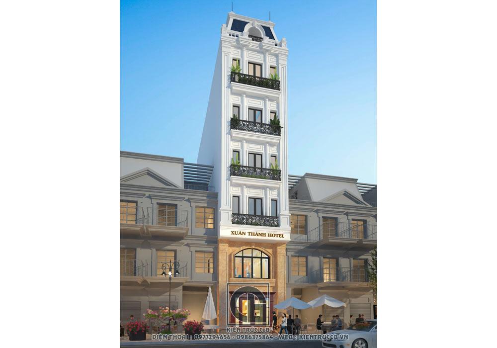 Mẫu thiết kế nhà phố cho thuê 6 tầng tân cổ điển