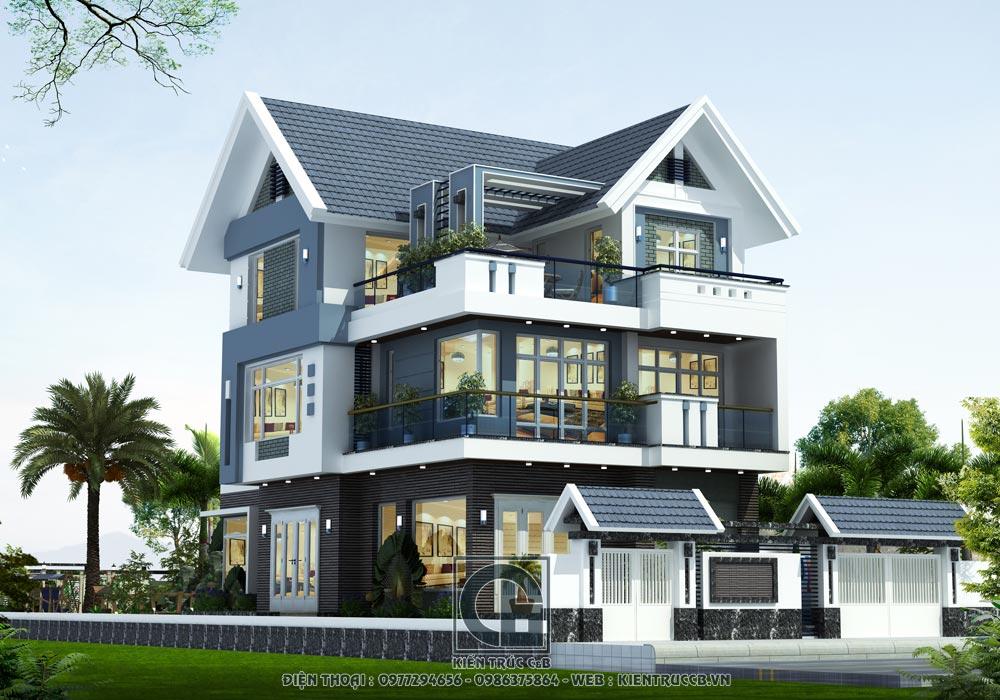 Mẫu biệt thự mái thái đẹp 3 tầng phong cách hiện đại