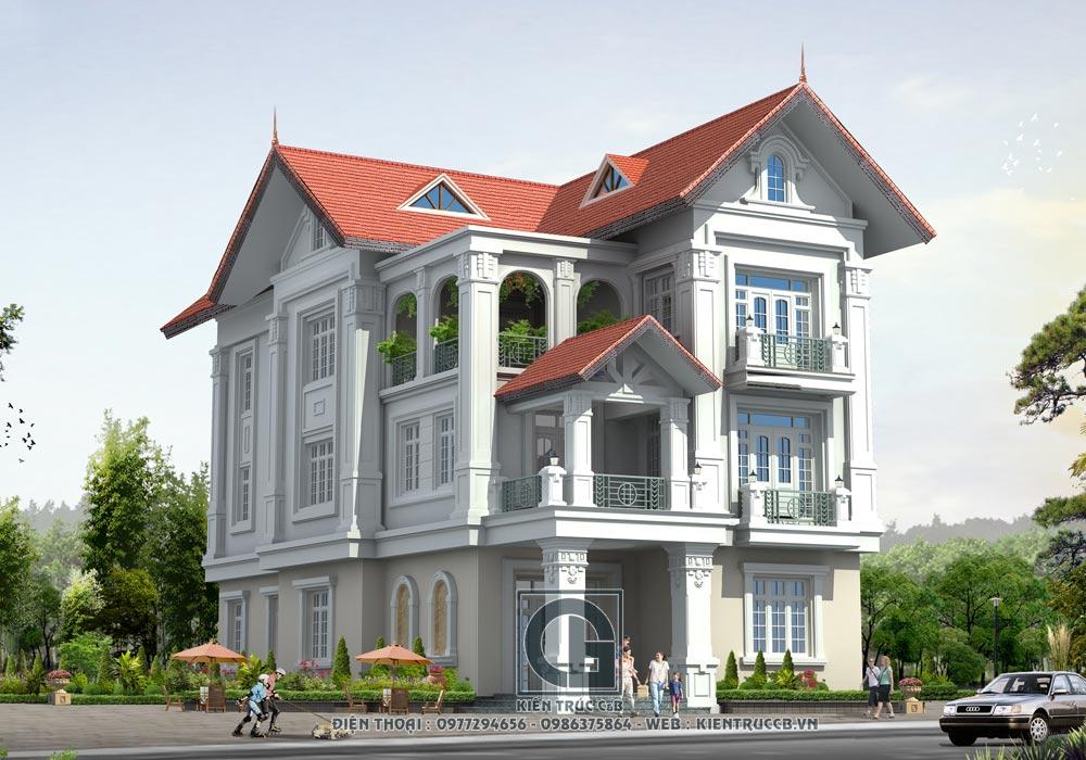 mẫu thiết kế biệt thự mái thái đẹp nhất