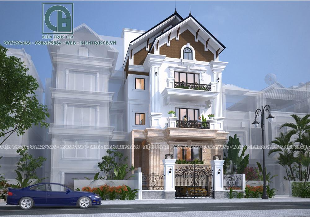 Mẫu thiết kế biệt thự nhà phố 4 tầng ấn tượng