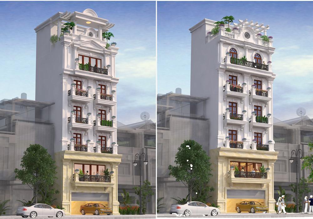 thiết kế nhà phố tân cổ điển kết hợp cho thuê