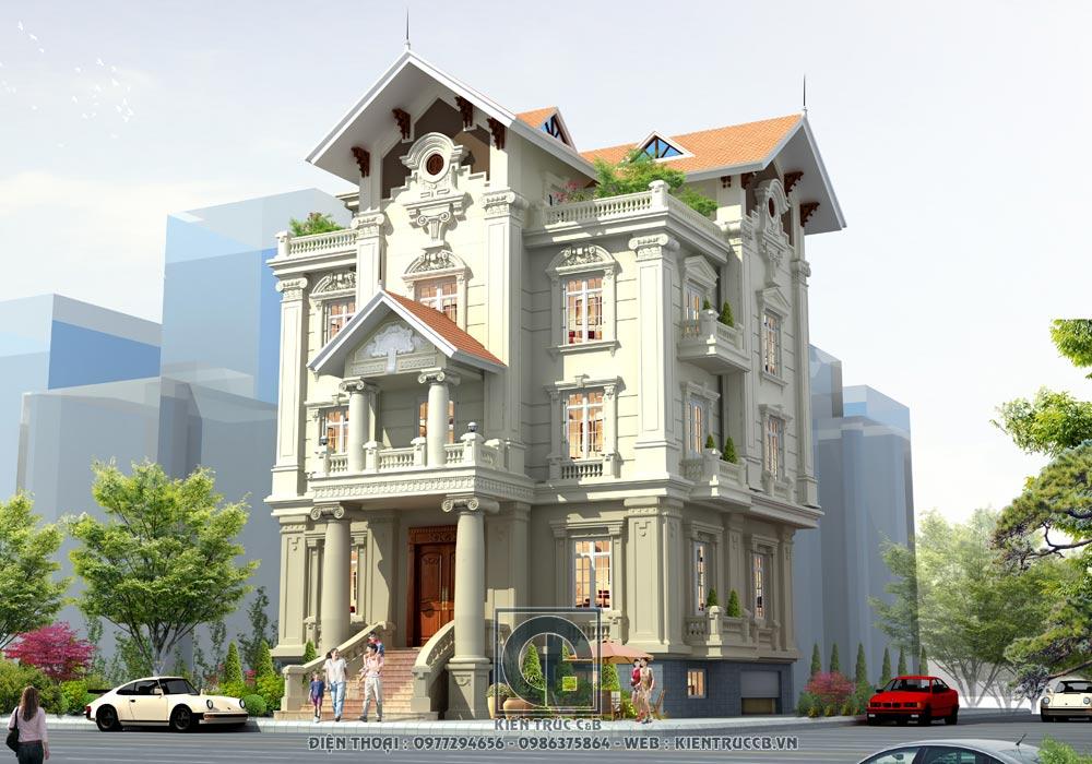 mẫu thiết kế biệt thự 3 tầng 1 tum