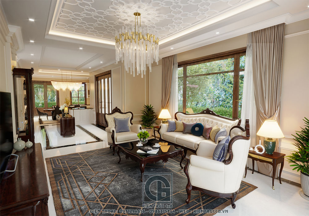 mẫu thiết kế nội thất tân cổ điển cho biệt thự