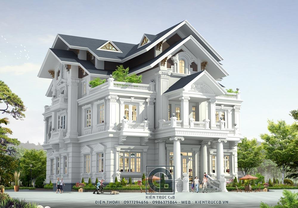 Thiết kế biệt thự 2 tầng 1 tum phong cách tân cổ điển