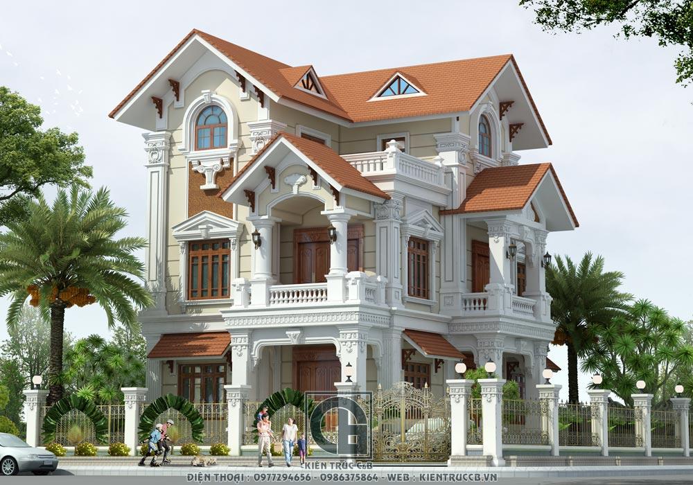 Thiết kế biệt thự mái Thái 2 tầng 1 tum