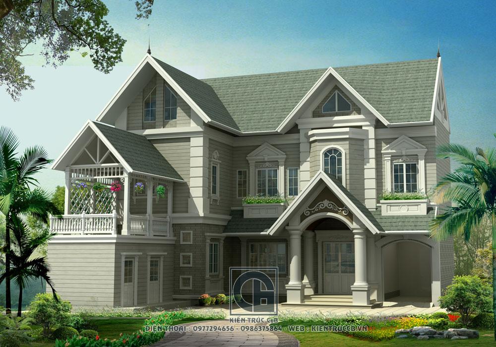 thiết kế nhà vườn mái thái 1 tầng