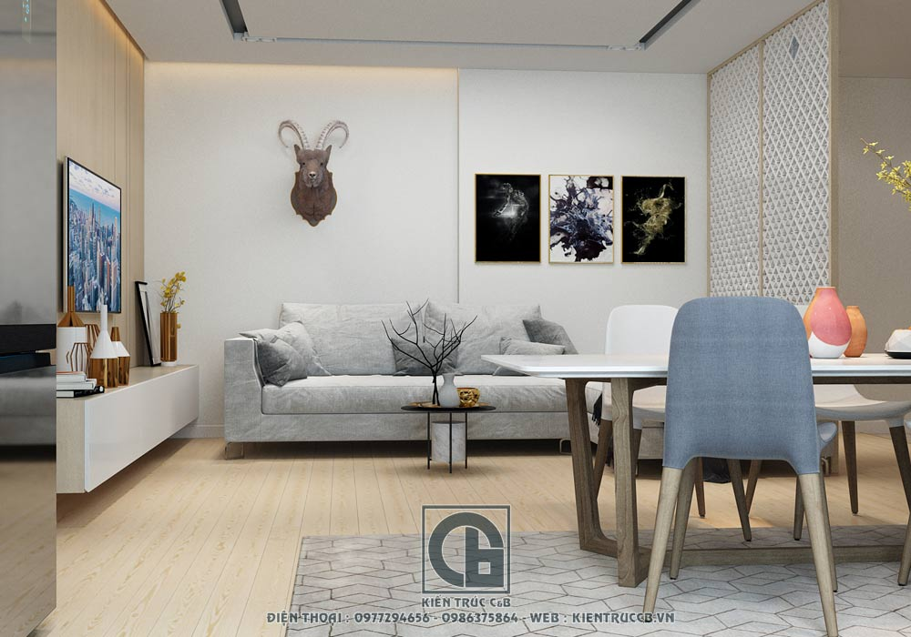 Mẫu nội thất chung cư đẹp hiện đại 70m2