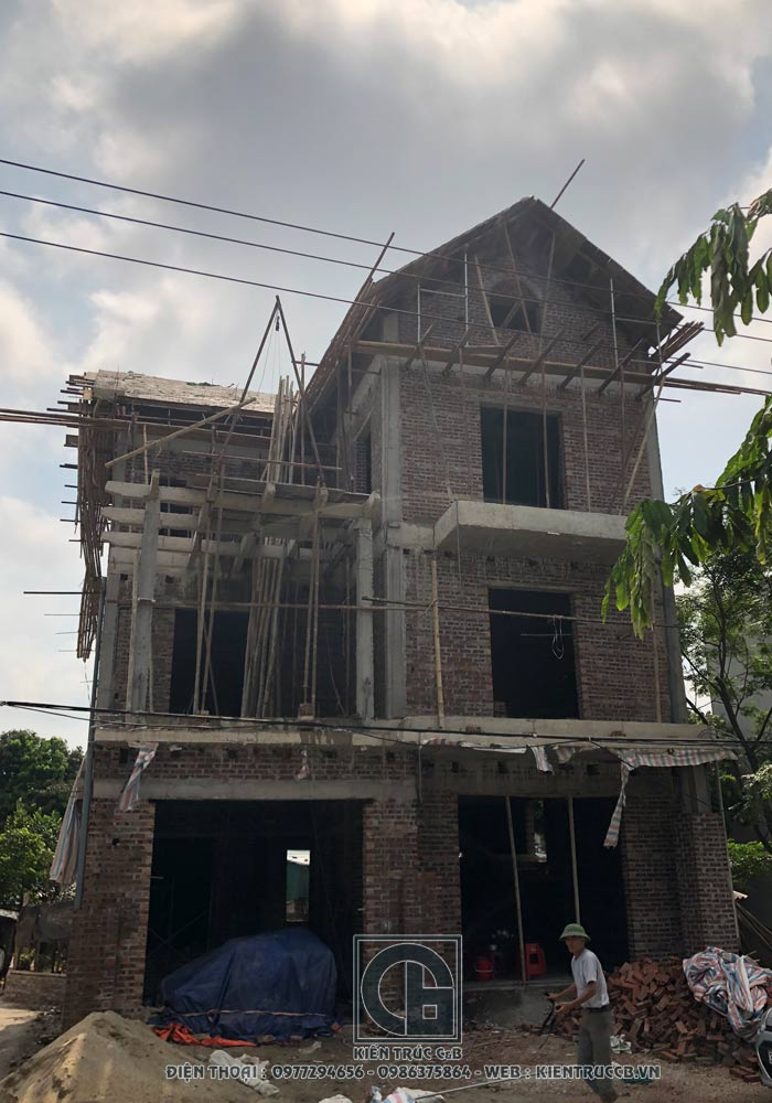 Tiến độ công trình biệt thự 3 tầng tân cổ điển tại Ninh Bình