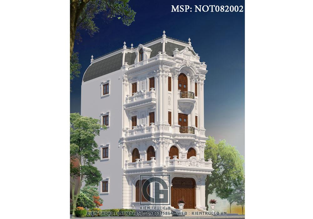 Mẫu nhà phố 4 tầng 1 tum phong cách cổ điển