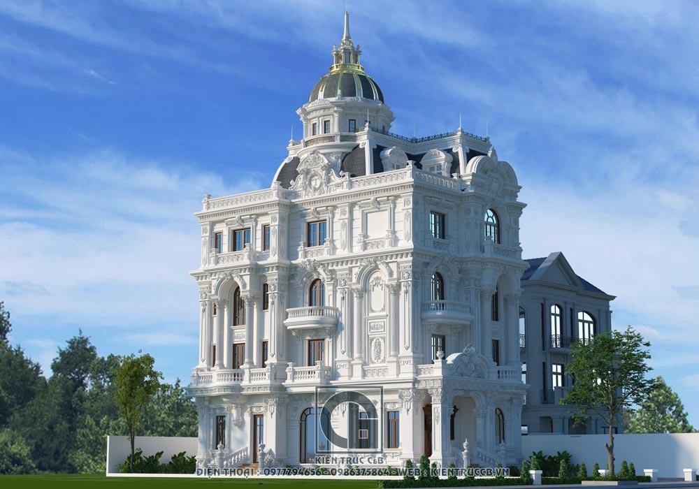 Thiết kế lâu đài 4 tầng 1 tum