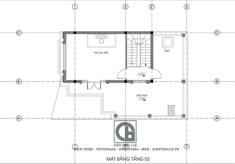 mẫu nhà ống 3 tầng tân cổ điển