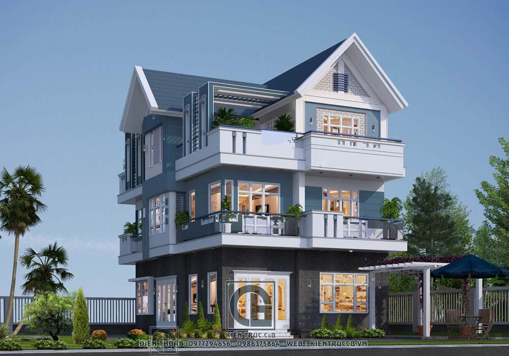 mẫu biệt thự đẹp 3 tầng phong cách hiện đại