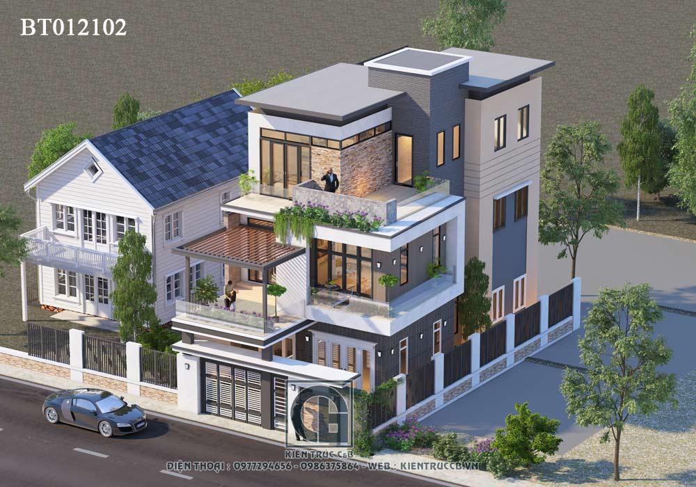 Tổng hợp 5 mẫu thiết kế biệt thự mái bằng