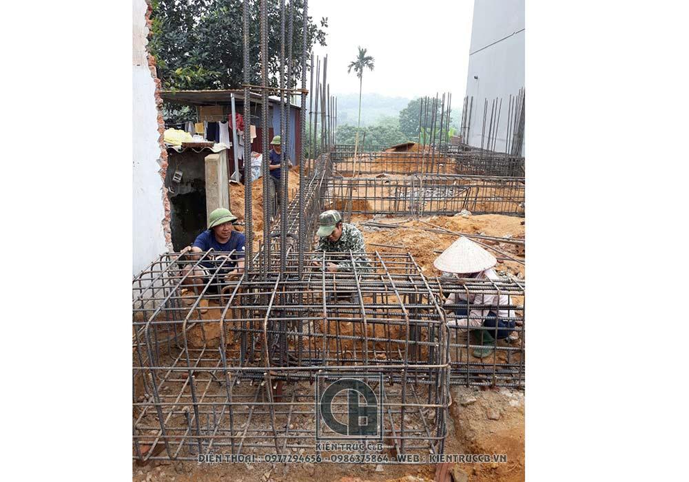 tiến độ thi công mẫu biệt thự 3 tầng 1 tum tân cổ điển