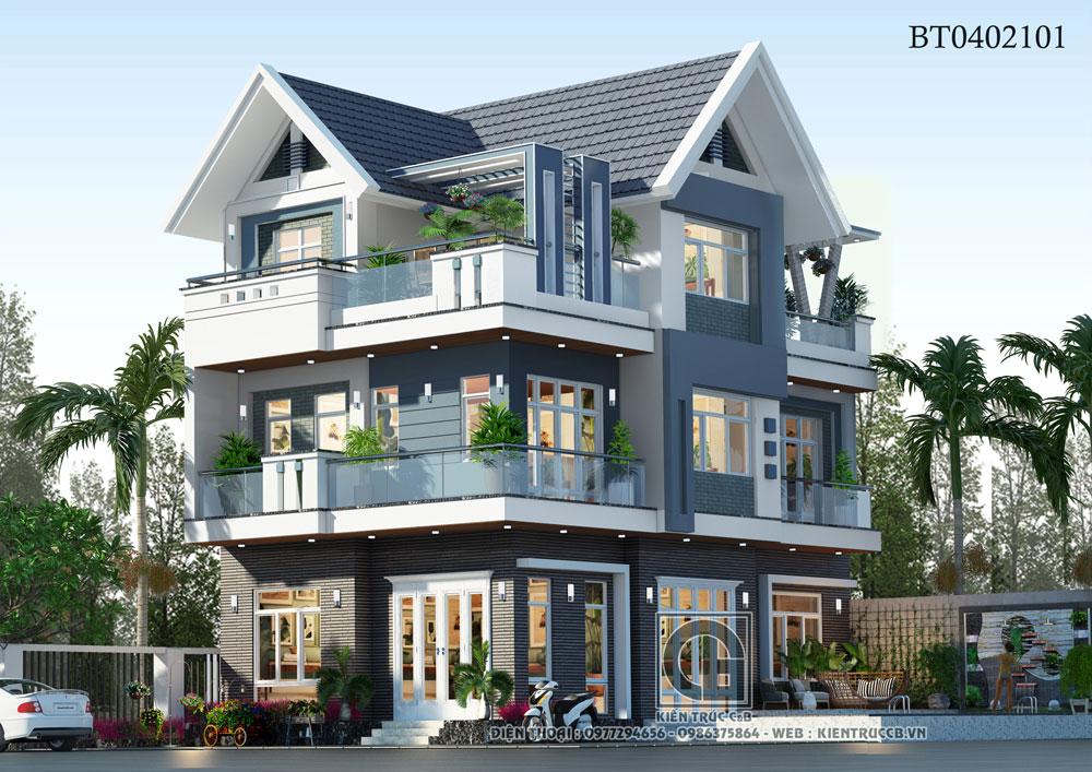 Thiết kế biệt thự hiện đại 2 tầng 1 tum đẹp nhà anh Tuấn, Thái Bình