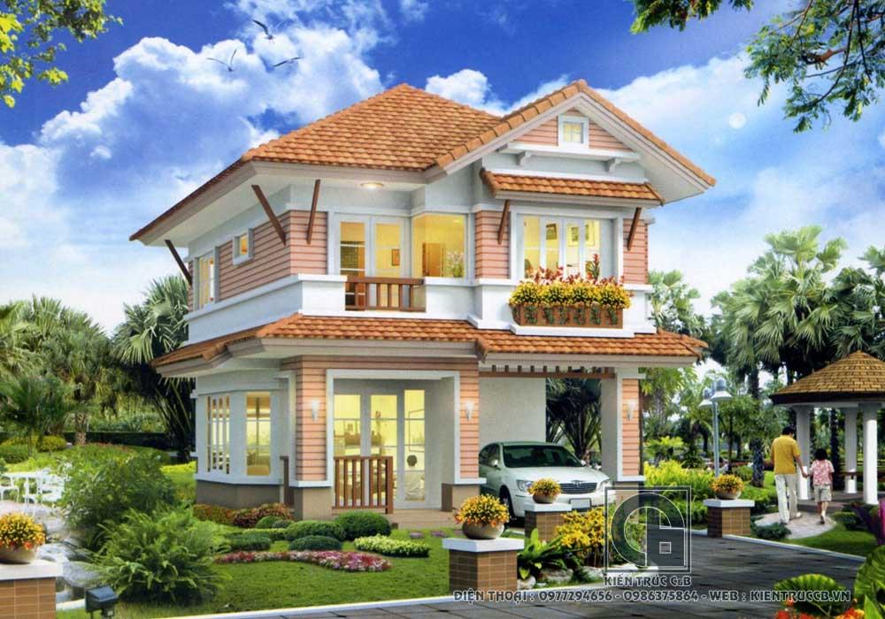 thiết kế mẫu nhà vườn 2 tầng đẹp kết hợp sân vườn