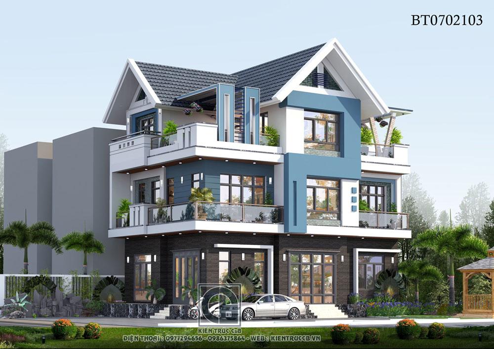 Mẫu thiết kế biệt thự mái Thái 3 tầng theo phong cách năng
