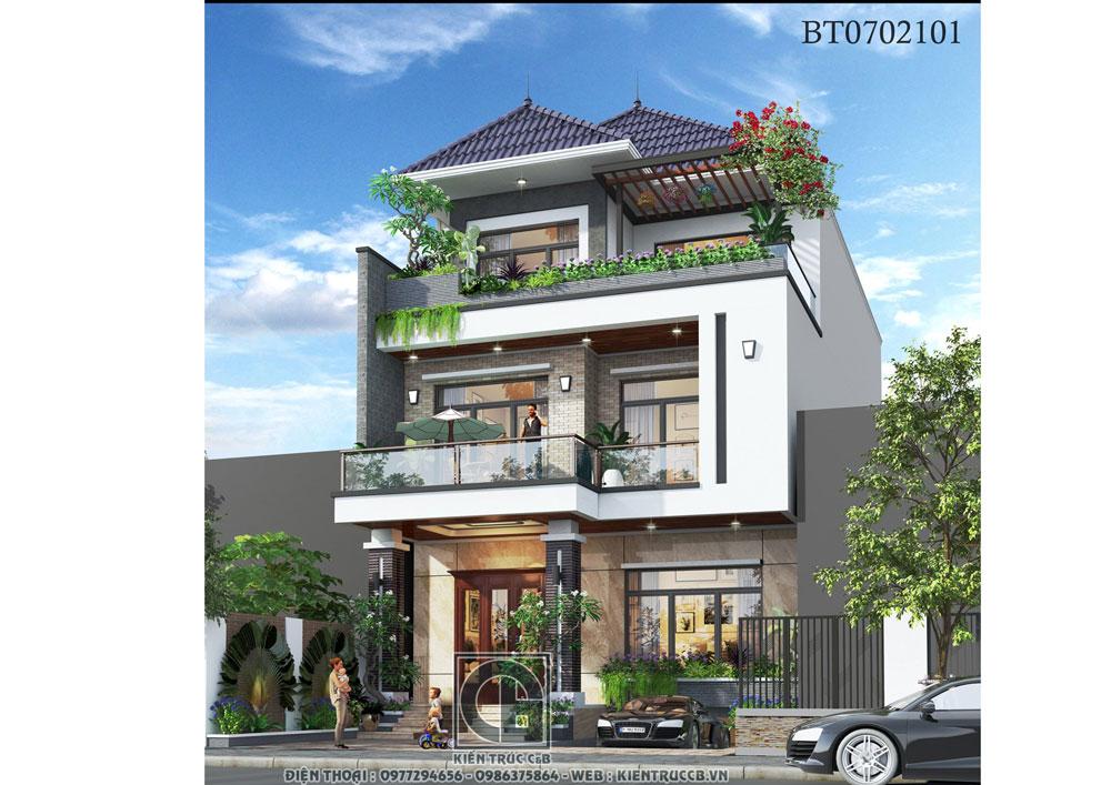 Mẫu biệt thự mái Nhật phong cách tân cổ điển nhẹ nhàng
