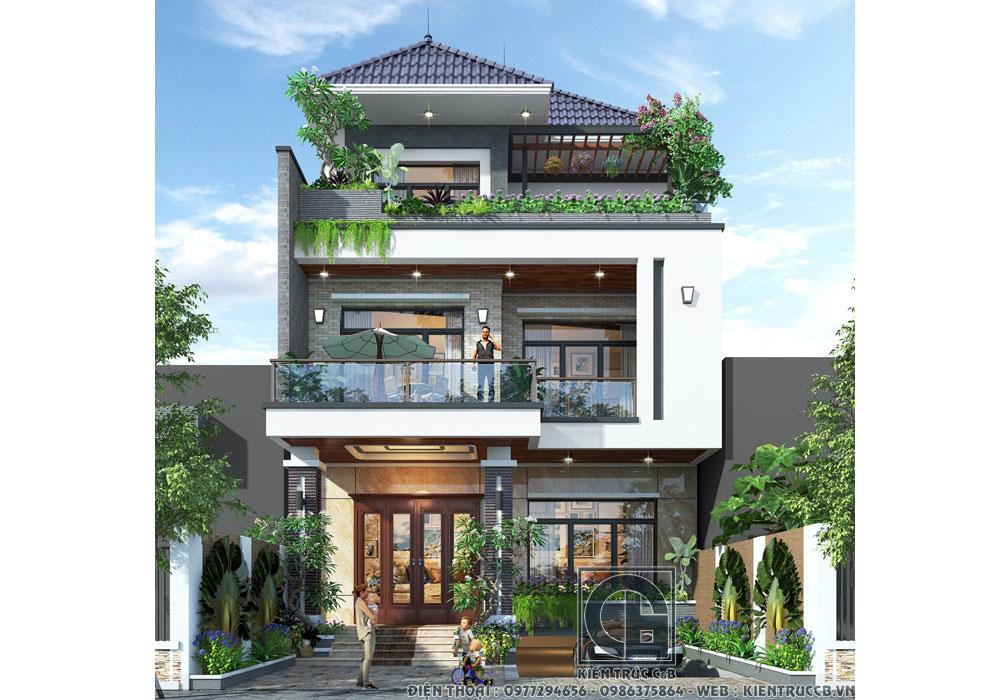 Mẫu thiết kế biệt thự 3 tầng phố mái Nhật