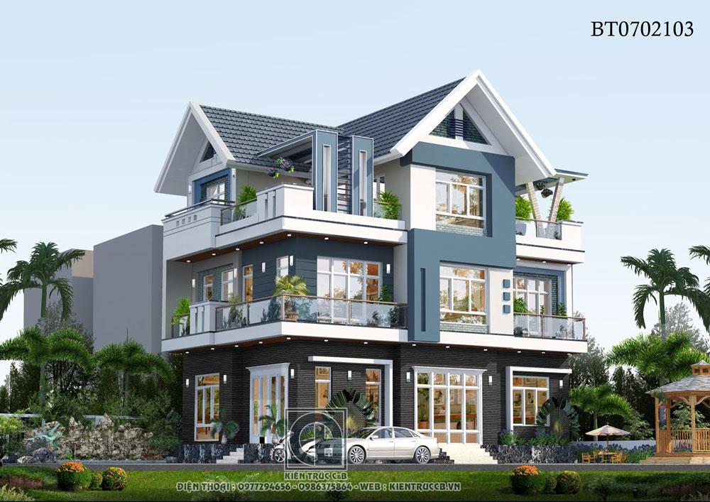 Mẫu thiết kế biệt thự mái Thái 3 tầng trẻ trung năng động