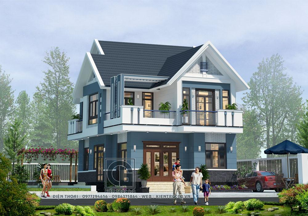 Mẫu biệt thự mái Thái 2 tầng theo phong cách hiện đại , năng động