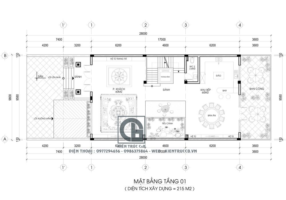 Mẫu thiết kế biệt thự phố 3 tầng theo phong cách tân cổ điển nhẹ nhàng
