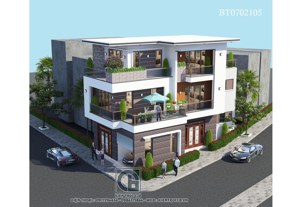 Thiết kế biệt thự hiện đại 3 tầng theo phong cách năng động, tinh tế.