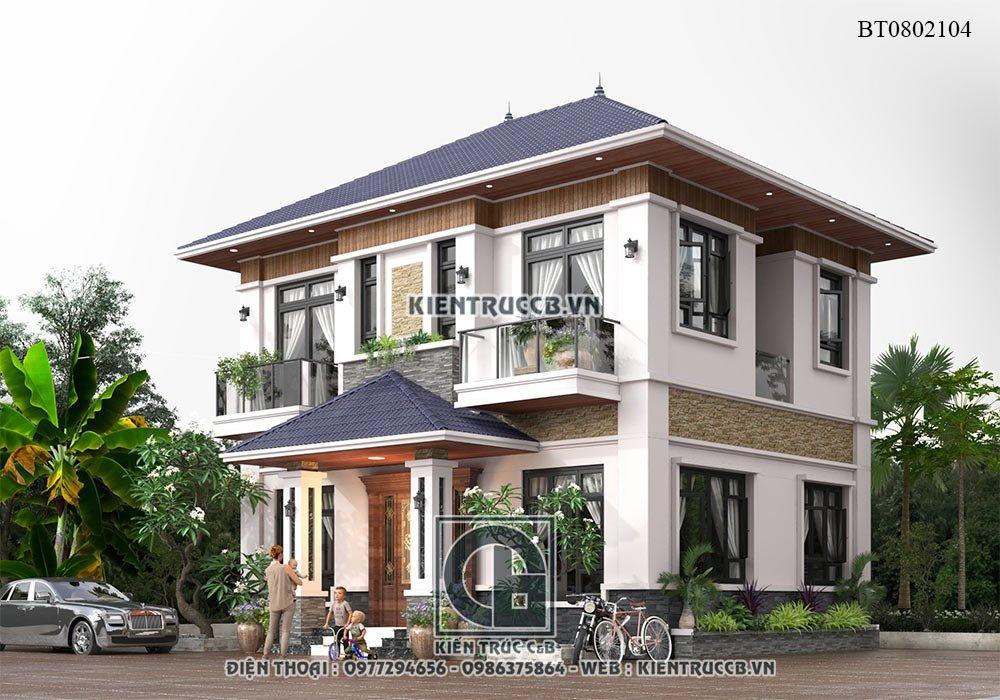 Mẫu biệt thự 2 tầng đẹp theo phong cách hiện đại, nhẹ nhàng