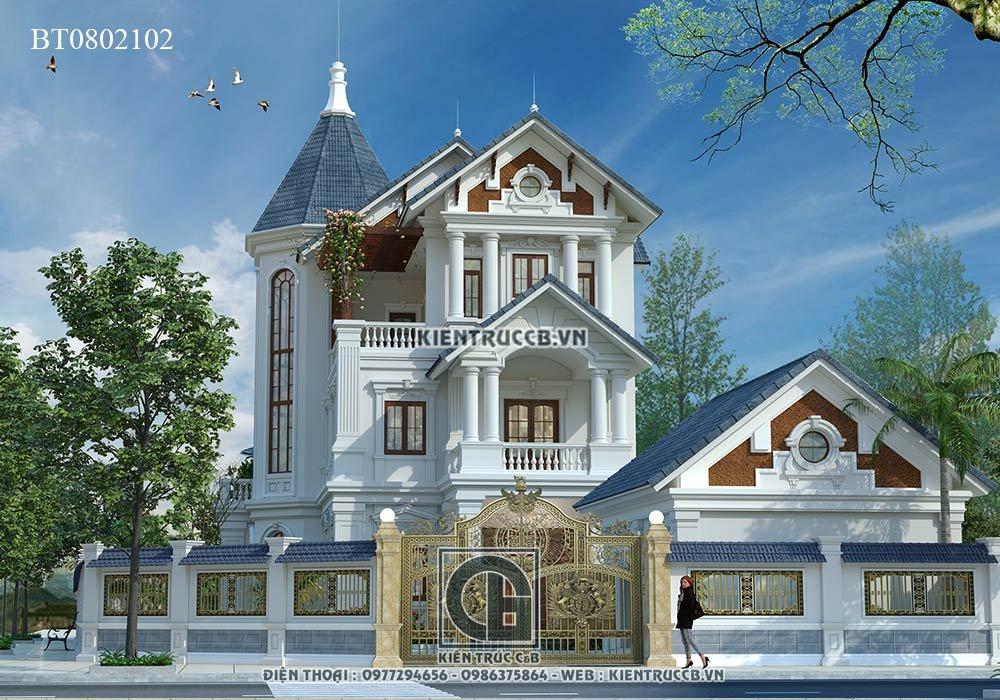 Biệt thự đẹp 3 tầng mái thái