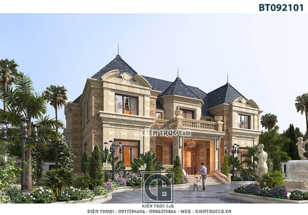 Mẫu thiết kế biệt thự Pháp 2 tầng