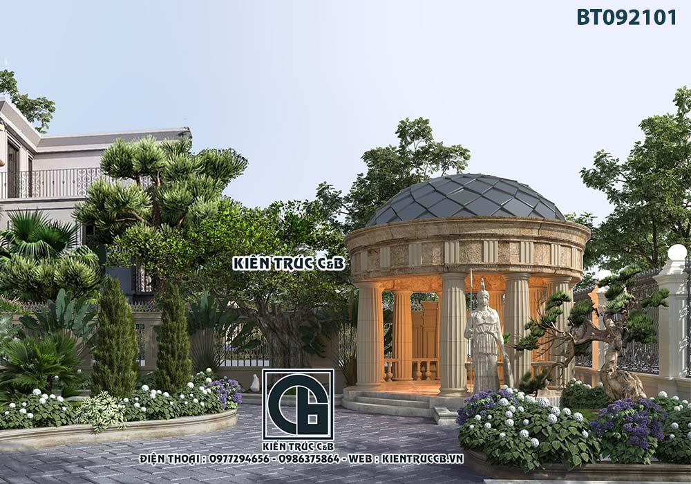 Sân vườn tiểu cảnh biệt thự Pháp