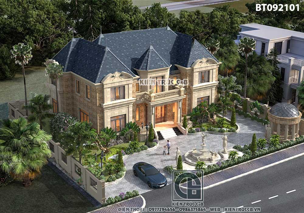Thiết kế sân vườn biệt thự Pháp
